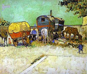 Vincent van Gogh: The Caravans - Gypsy Camp ne...