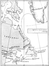 Hypothetical map of Thorfinn Karlsefni's expedition to Vinland