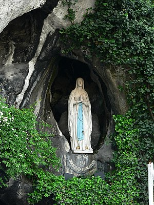 Statue of Our Lady of Lourdes. The Lourdes app...