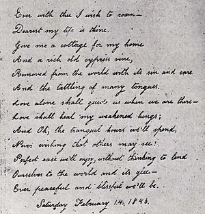 Virginia Eliza Clemm Poe - Virginia's handwritten Valentine poem to her husband