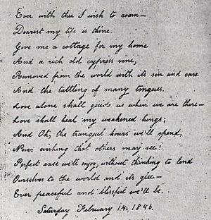 Virginia Eliza Clemm Poe - Virginia's handwritten Valentine poem to her husband