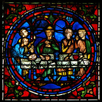 Medieval stained glass - Detail of a panel from Chartres Cathedral
