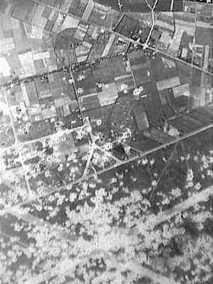 Volkel Air Base - Fliegerhorst Volkel as seen from above in 1944 after having been bombed by allied forces
