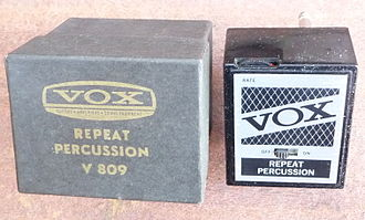 Vox (musical equipment) -  Vox V 809 Repeat Percussion effect operated by PP3 9 volt battery, direct plug-in or by in-line cable