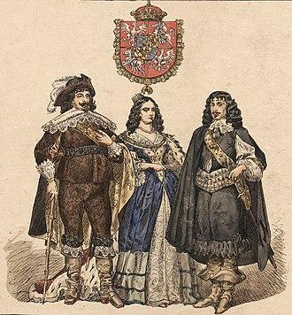 Marie Louise Gonzaga - Image: Władysław IV Waza z żoną i z bratem Kazimierzem
