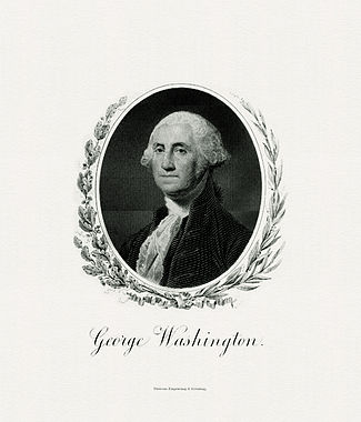 BEP engraved portrait of Washington as President.