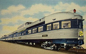 """Blue Bird (train) - The Blue Birds """"Vista-Dome"""" dome parlor-observation car in the 1950s."""