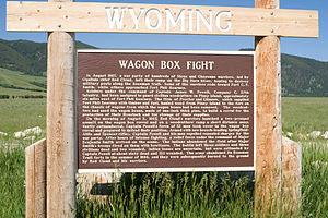 Wagon Box Fight - Wyoming historical marker at Wagon Box site