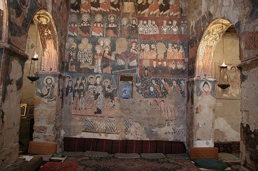 Wall with frescos in the church of Deir Mar Musa al-Habashi