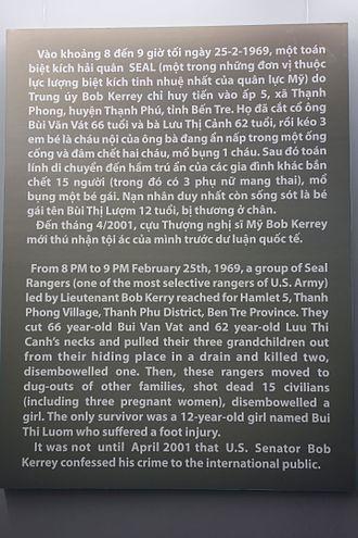 Bob Kerrey - Image: War Remnants Museum display 1745 01