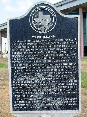 Ward Island (Texas) - Ward Island historical marker