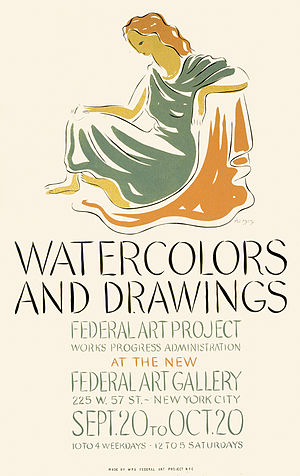 1937 in the United States - September 20: The Federal Art Project opened a Watercolors and Drawings show at  the new Federal Art Gallery, NYC