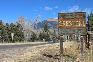 Crestone, Colorado - Welcome sign on Birch Street.