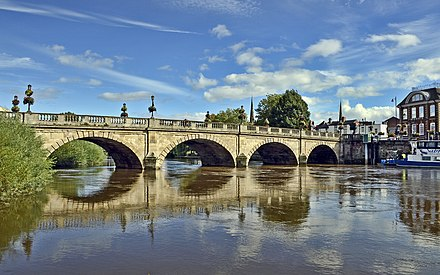 River Severn, seen here in Shrewsbury, is the primary watercourse in the county. Welsh Bridge, Shrewsbury.jpg