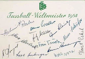 1954 FIFA World Cup - Card autographed by coach Sepp Herberger and the 11 German players that appeared in the final