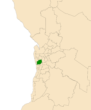 Electoral district of West Torrens - Electoral district of West Torrens (green) in the Greater Adelaide area