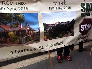 WestConnex - Banner outside NSW Parliament protesting destruction of houses in Haberfield (September 2016)