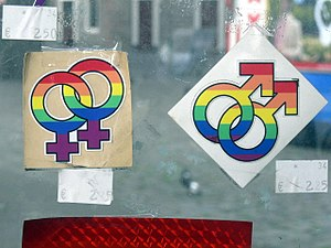 Gay symbols near Westerkerk in Amsterdam