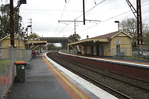 Westgarth railway station - Eastbound view from platform 2 in May 2014.