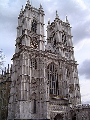 West view of Westminster Abbey, London.
