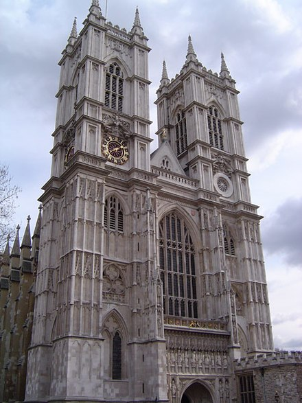 Westminster Abbey is a notable example of English Gothic architecture. The coronation of the British monarch traditionally takes place at the Abbey Westminster abbey west.jpg