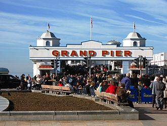 Grand Pier, Weston-super-Mare - Crowds at the reopened pier's entrance in October 2010.