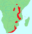 White-starred Robin distribution.png