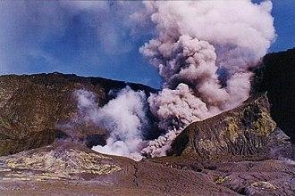 Volcanology of New Zealand - Main vent of Whakaari/White Island in 2000