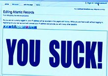 "Wikipedia page on Atlantic Records being edited to read: ""You suck!"""