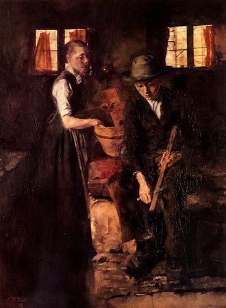 Munich School - Wilhelm Leibl, In der Kueche II, 1898, oil on canvas, 84 x 64.5 cm., Cologne,  Wallraf-Richartz Museum