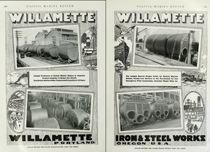 Willamette Iron and Steel Works - Advertisement noting large Emergency Fleet Corporation boiler orders.