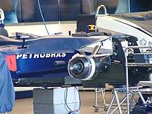 Une Williams FW25 sans roues, laissant apparaître les freins à disques.