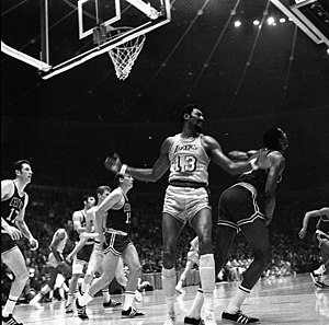 1969 NBA Finals - Image: Wilt Chamberlain of the Los Angeles Lakers in the 1969 NBA World Championship Series
