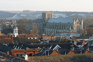 Winchester city centre and Cathedral from the North West