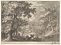 Woodland scene with marshy banks, two men and a dog in profile at left, two-long-necked birds at right, from the series 'Six landscapes in Tyrol' after Roelandt Savery MET DP828115.jpg