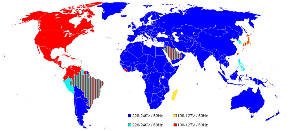 World Map of Mains Voltages and Frequencies, Simplified