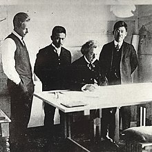 From Left John Lloyd Wright Arata Endo Frank And Aisaku Hayashi In An Designing The Imperial Hotel