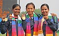 XIX Commonwealth Games-2010 Delhi Dola Banerjee, Deepika Kumari and Bombayala Devi of India won the Gold medal in Archery (Women's Team Recurve), during the medal presentation ceremony, at Yamuna Sports Complex, in New Delhi.jpg