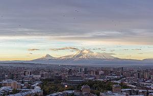 Yerevan Opera Theatre - Image: Yerevan skyline at dawn