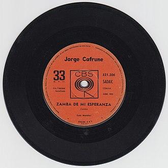 CBS Records International - Image: Zamba de mi esperanza Jorge Cafrune Vinilo