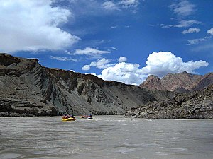 Geography of Jammu and Kashmir - River rafting in the Zanskar subdistrict of Kargil.