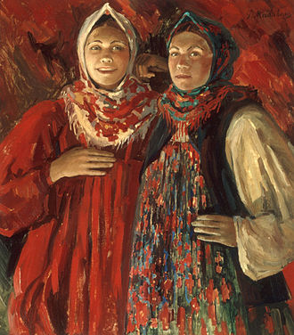 Filipp Malyavin - Two Russian beauties, circa 1905