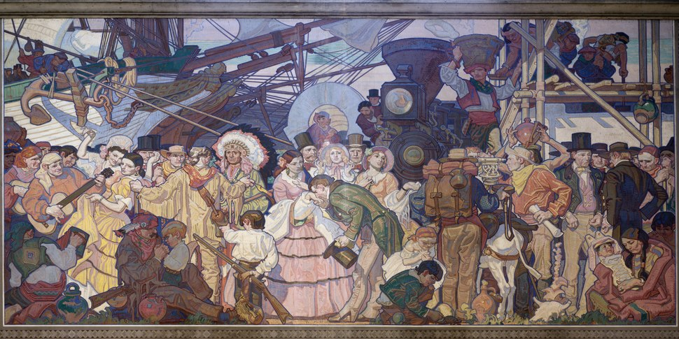 """Americanization,"" one of four ""great eras of California history"" murals by Dean Cornwell at the Central Library in downtown Los Angeles, California LCCN2013631652"
