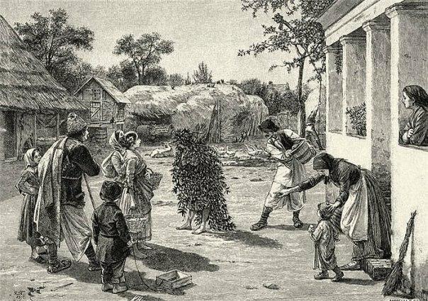 """Watering of Dodola"" by Uroš Predić, published in magazine ""Orao"" in 1892"