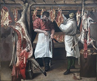 Butcher's Shop - Annibale Carracci, The Butcher's Shop, early 1580s, Kimbell Art Museum, 23 1/2 × 27 15/16 in. (59.7 × 71 cm)