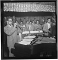 (Portrait of Dizzy Gillespie, John Lewis, Cecil Payne, Miles Davis, and Ray Brown, Downbeat, New York, N.Y., between 1946 and 1948) (LOC) (5306379575).jpg