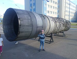 Kuznetsov NK-144 - NK-144 engine on a pedestal near the building of KAI in Kazan.