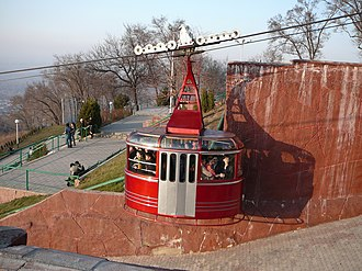 Kok-Tobe - Cabin cableway on the approach to the Kok-Tobe