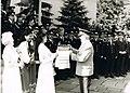 Лелюшенко Д. Д. встречают хлебом и солью в родной гвардейской армии. Эберсвальде, 1984.jpg