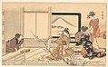 """喜多川歌麿画 『男踏歌』 鶯の餌すり-""""Preparing Food for the Warbler,"""" from the album Men's Stamping Dance (Otoko dōka, uguisu no esa suri) MET DP135575.jpg"""